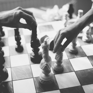 wedding couple playing chess